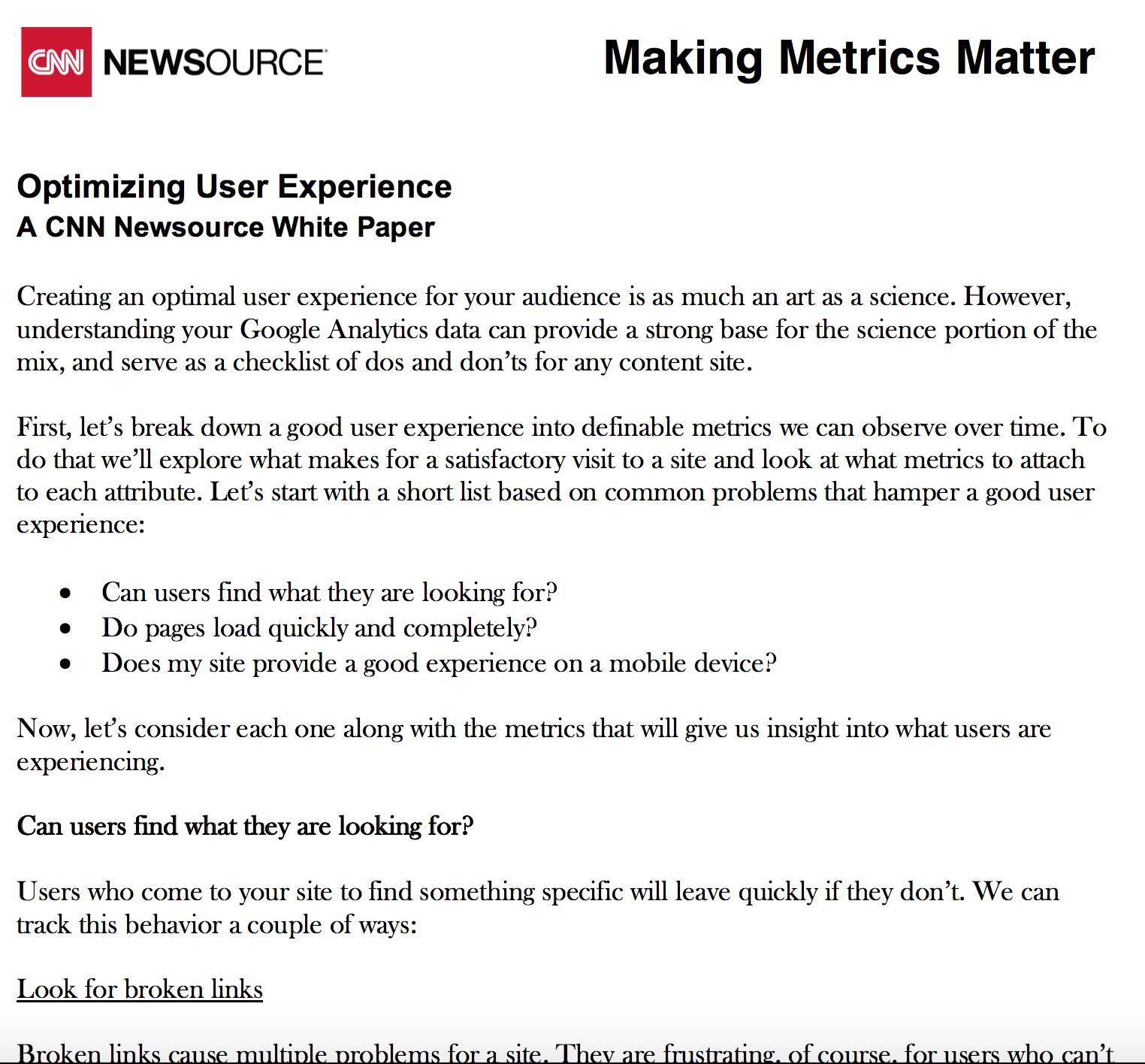 Optimizing User Experience